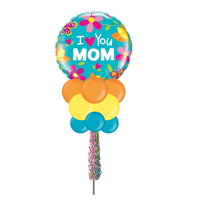 I Love You Mom Flowers Large Party Pole