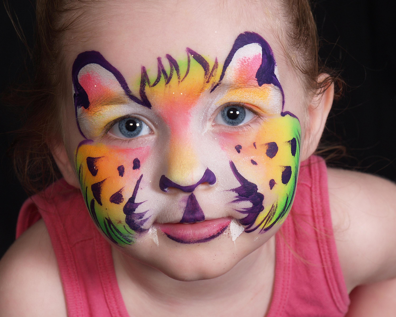Neon Rainbow Kitty Face Paint 04