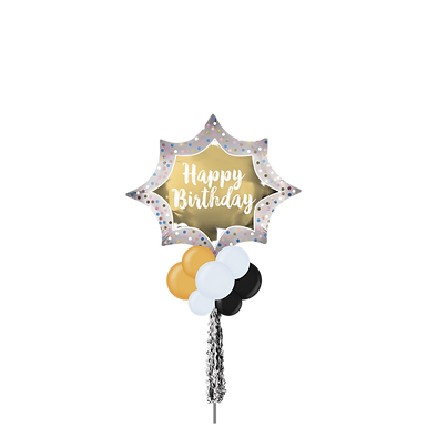 Jumbo Party Pole-  Happy Birthday Gold