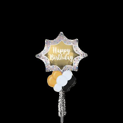 Jumbo Party Pole-  Happy Birthday Gold