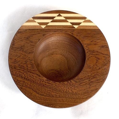 Inlaid bowl in sapele