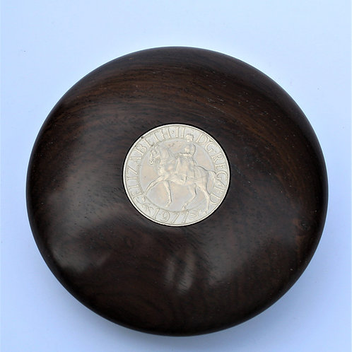 Gift boxed paperweight  in leadwood with jubilee crown
