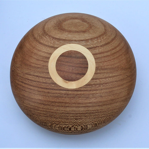 Gift boxed paperweight in elm with sycamore inlay