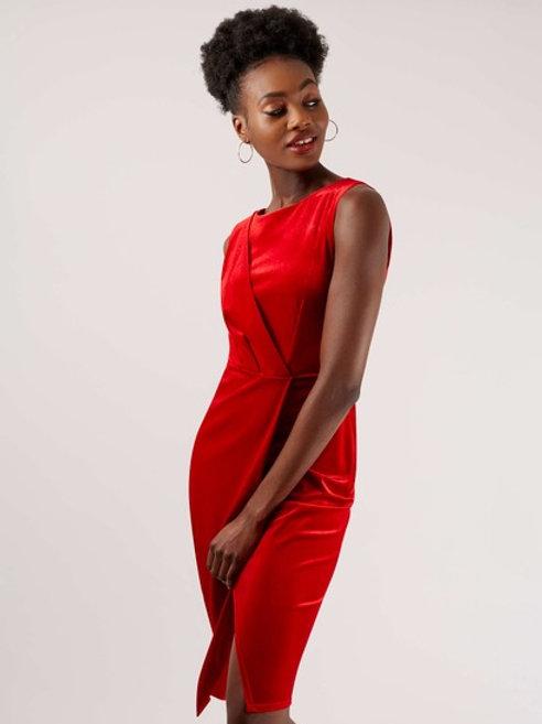 Velvet Red Wrap Dress