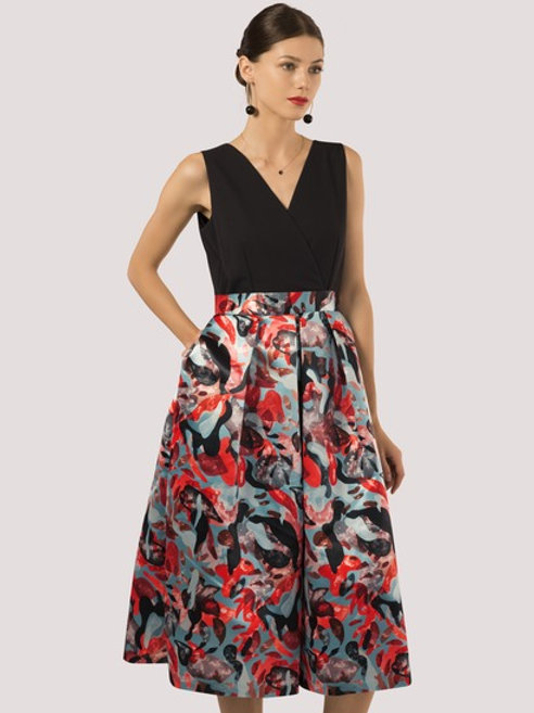 2-in-1 Graphic Print Full Skirt Dress