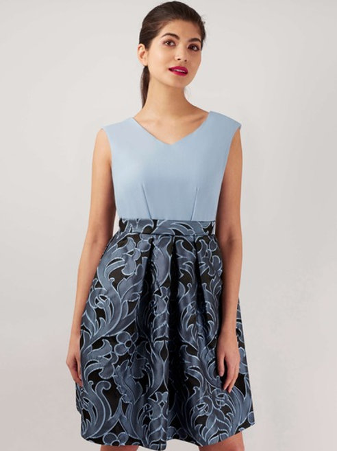 Blue Jacquard V Neck 2-in-1 Dress