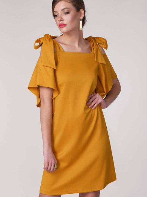 Mustard Tie Shoulder Tunic Dress