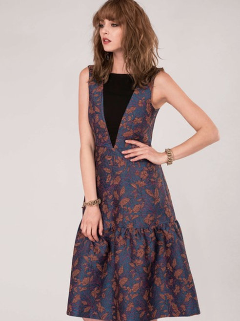 Blue Floral Frill Jacquard Dress