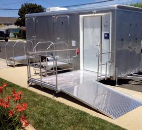 ada portable restroom trailer ada handicap accessible portable trailer - Bathroom Trailer Rental