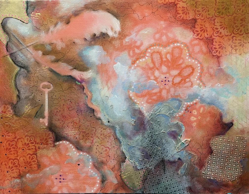 Feathers, key, flowers, stencils