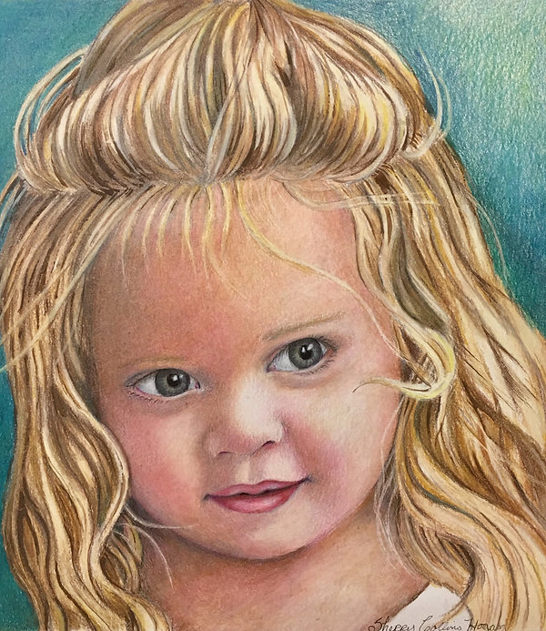 Child's Portrait with a Decorative Hand Painted Border