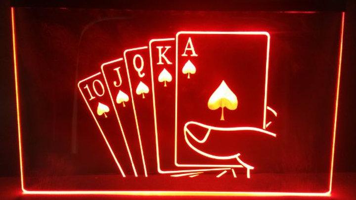 Royal Flush Poker 3d Signs LED Neon Sign Man Cave Vintage Home Decor