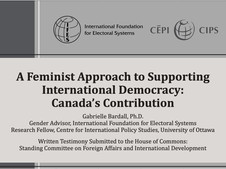 A Feminist Approach to Supporting International Democracy: Canada's Contribution