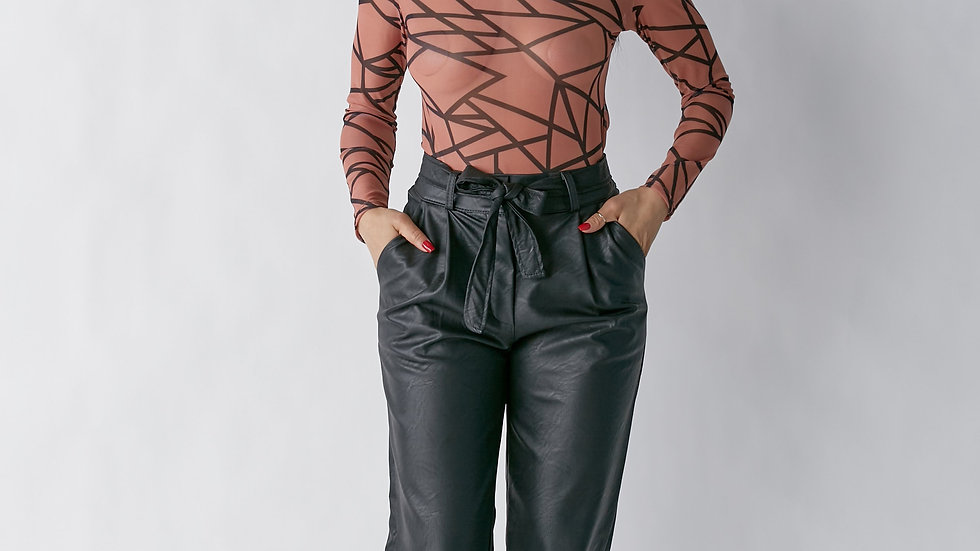 Abstract Long Sleeve Bodysuit