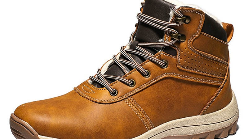 Genuine Leather Lace-Up Men Shoes High Quality Vintage Snow Boots Winter