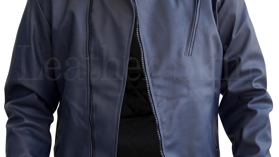 Men Bluish Gray Faux Leather Jacket