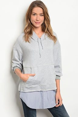 Womens Gray Blue Top