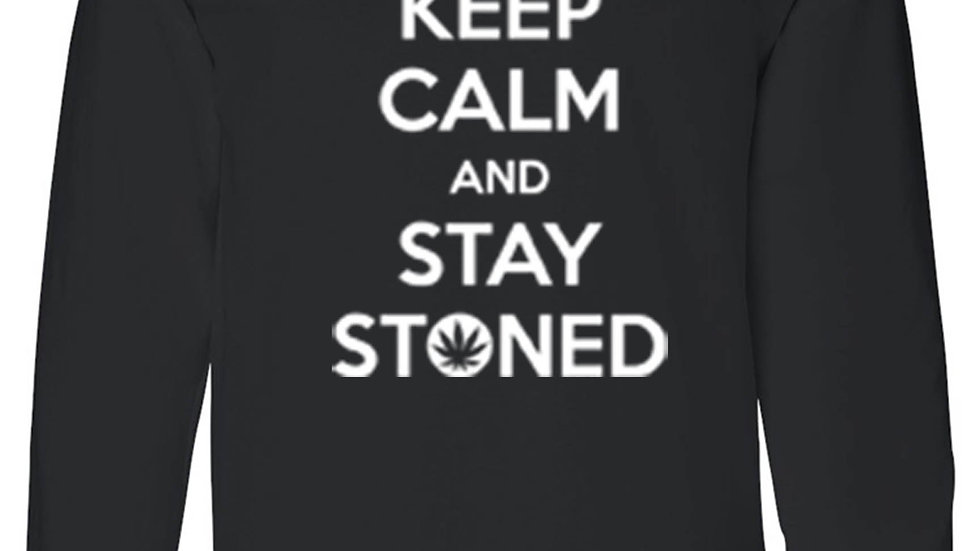 Men's/Unisex Funny Stay Calm and Stay Stoned Long Sleeve T-Shirt