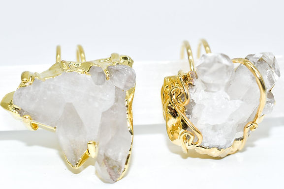 Gold Dipped Crystal Druzy Ring