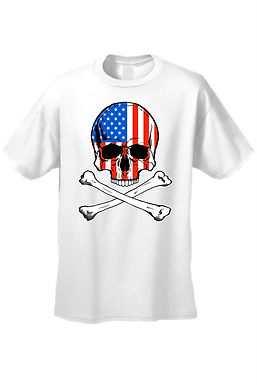 USA Flag Tank Top Men's Shirt Skull With Crossed Bones