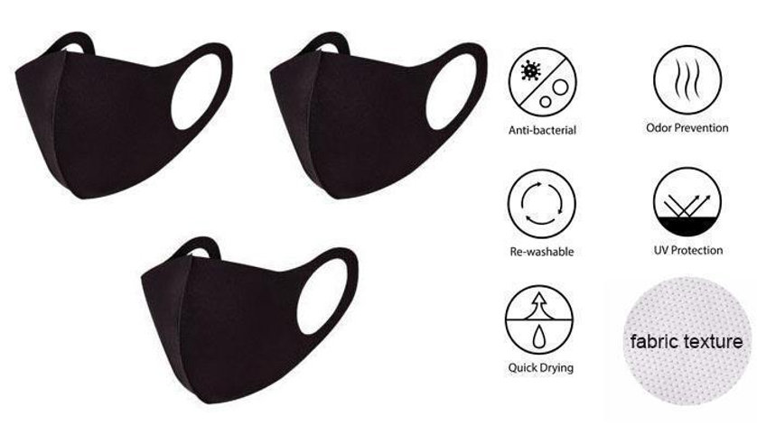 Adult Solid Black 3/Pk Anti-Bacterial Face-Mask - RTS