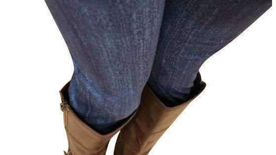 Blue Faux Jean Yoga Band Leggings