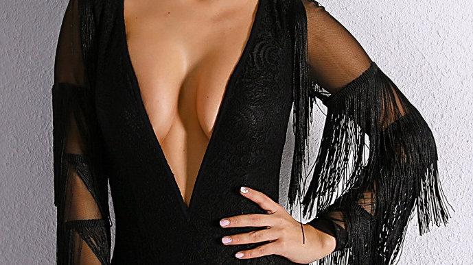 Black Fringe Bodysuit