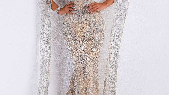 High Neck Evening Gown
