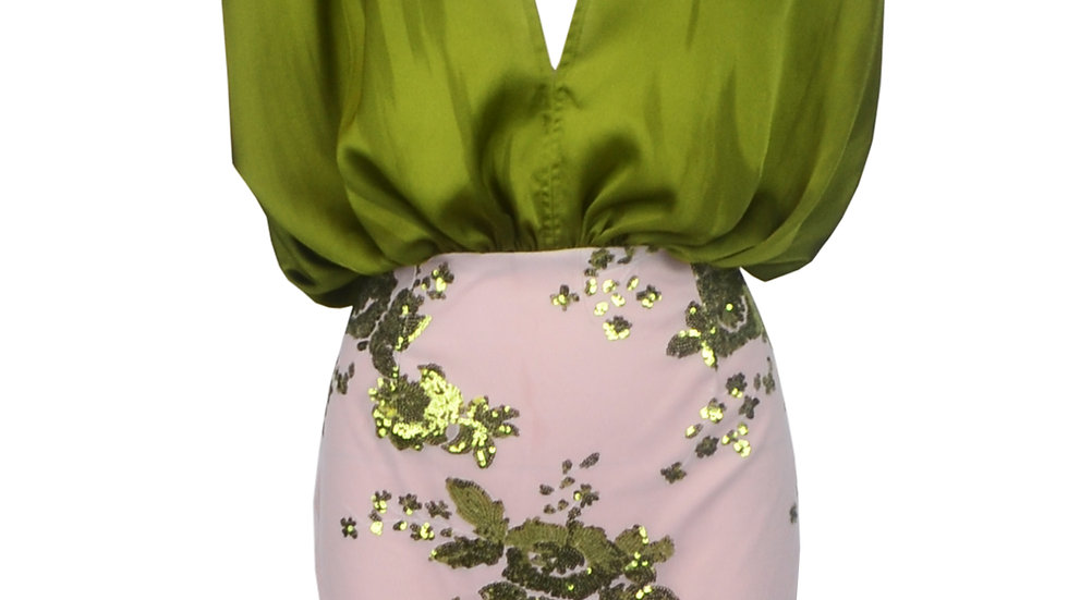 Green Sequin Sleeveless Party Dress