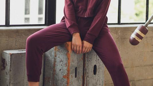 Burgundy Full Zip Hoodie and Jogger Set