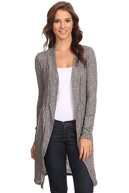 Women's Ribbed Open Front Long Sleeve Cardigan Small to 3XL Made in USA