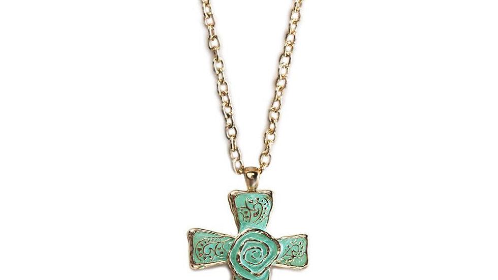 The Cross Necklace-Aqua