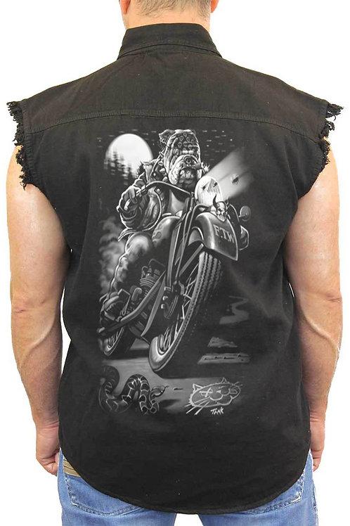 Men's Sleeveless Denim Shirt Biker Bulldog Cats Suck Biker