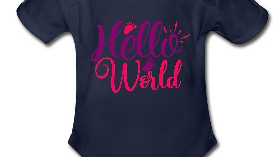Hello World Short Sleeve Baby Bodysuit