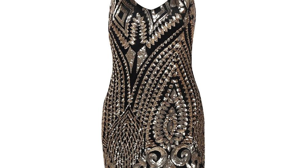 Black Sequin Halter Dress