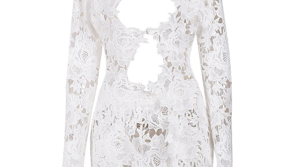 Sexy White Lace Plunge Set