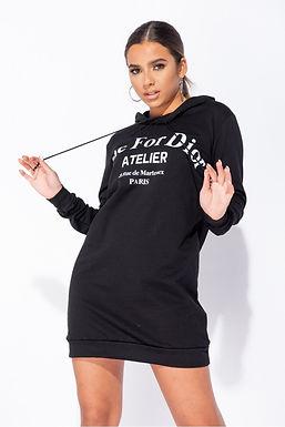 """Black """"Die for Dior"""" Hooded Jumper Dress"""