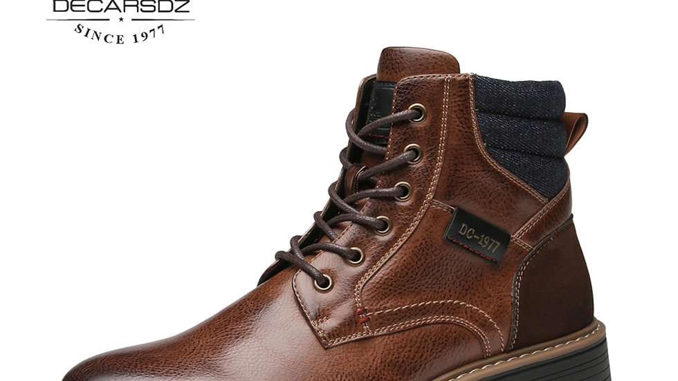 Men Boots Comfy Lace-Up High Quality Leather Men's Boots  Durable
