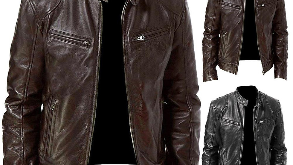 Autumn Men Fashion Motorcycle Leather Jacket Fit Coat Casual Zipper Jacket