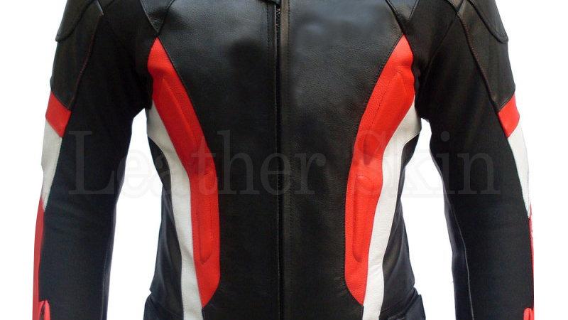 Black Red Stripes Biker Leather Jacket