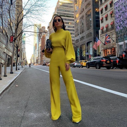 Solid Color Turtleneck Backless Long Sleeve Casual Overalls for Women Jumpsuit