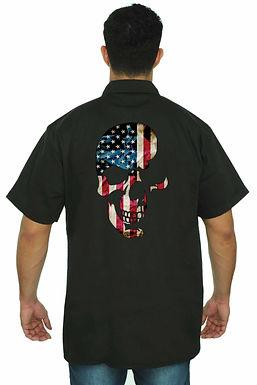 Men's Mechanic Work Shirt USA Flag Skull Americana