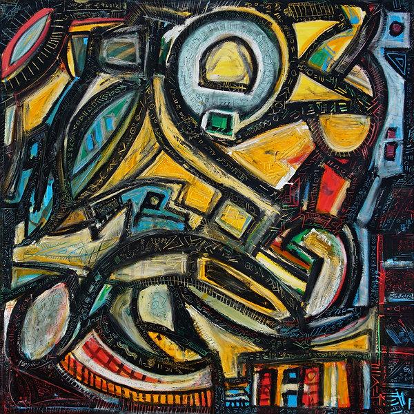 Dacing astronaut - Oil on Canvas - 48_ x