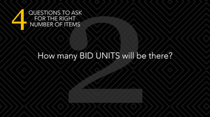 silent auctions how many bid units will be there