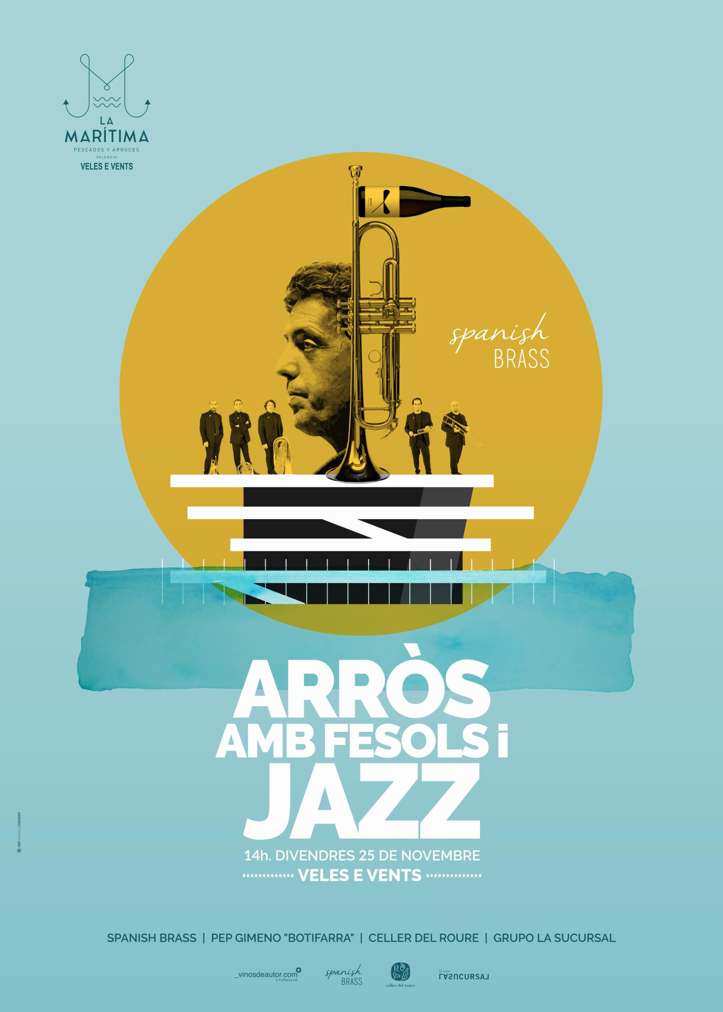 Cartell Arros amb fesols i jazz Pep Gramage