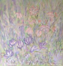 "Spring Flowers Acrylic on board, 24"" x 25"""