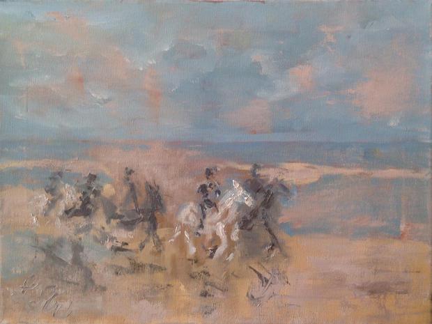 Gallop on the Beach Oil on canvas,  40cm x 30cm