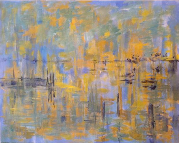 "Golden Harbour Acrylic on canvas,  30"" x 24"""