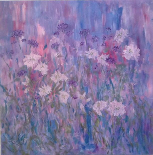 Amongst the Flowers, Acrylic on canvas,  1m x 1m