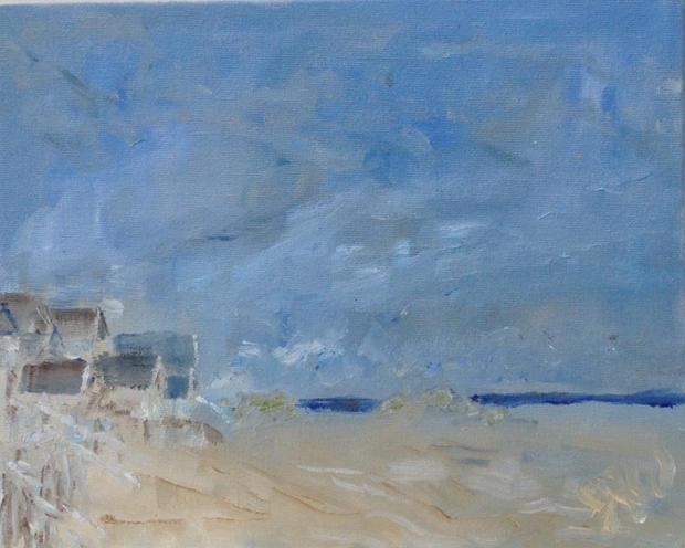 "Beach Huts, Wells Oil on canvas board,  10"" x 8"" SOLD"